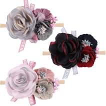 Oaoleer Baby Girl Floral Headbands, Newborn Infant Toddler Hair Accessories(3 Pcs Headbands A5)