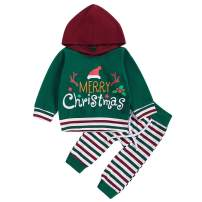 Christmas Kids Toddler Baby Boys Girls Xmas Outfit Letter Hoodie Sweatshirt Jackets Shirt+Pants Winter Clothes Set