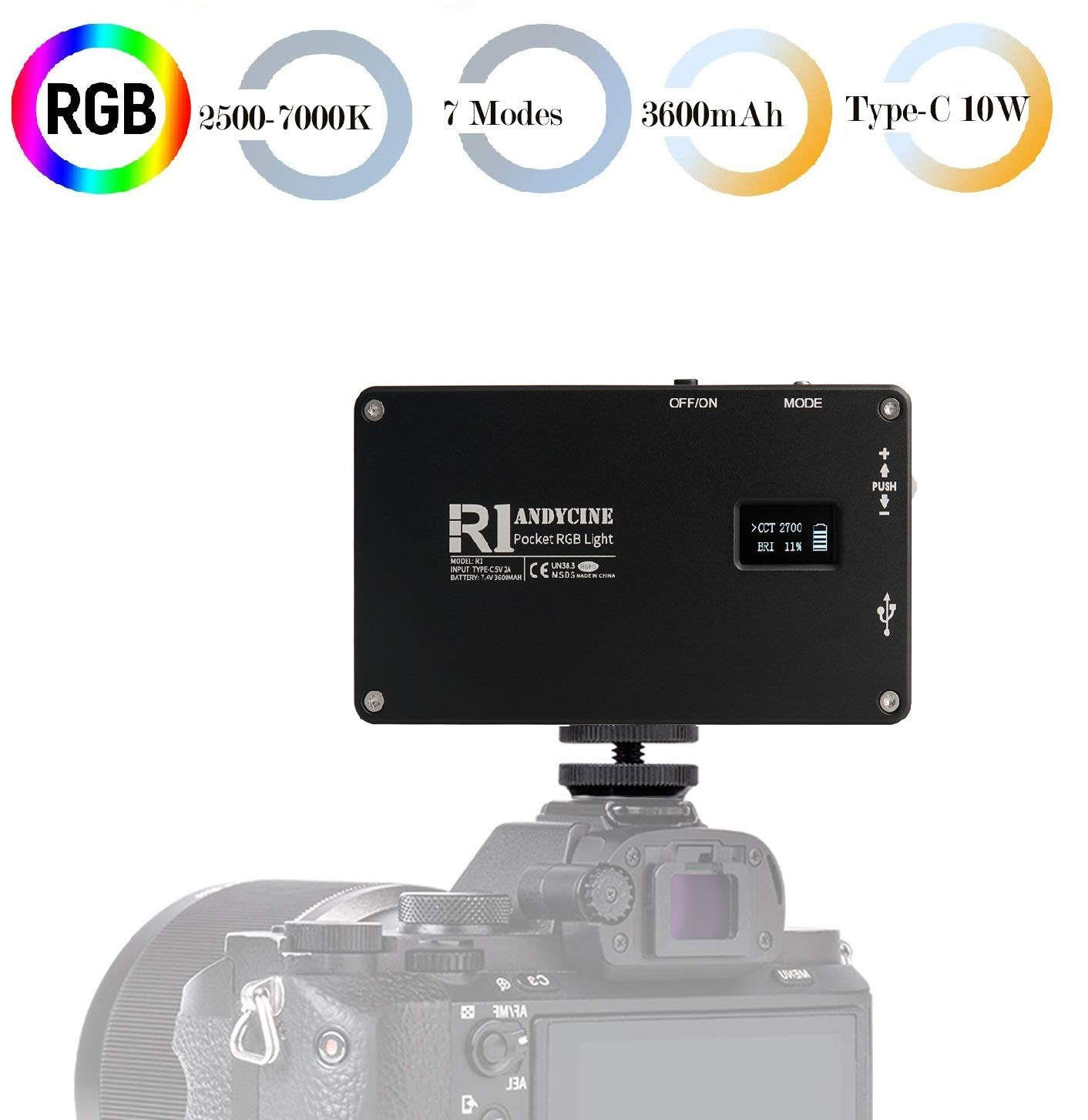 ANDYCINE R1 RGB Pocket Light, Mini Type-C 10W On-Camera Vlogger Video Light 2500-7000K 7 Applicable Situations 192 LEDs with 3600mAh Built in Battery
