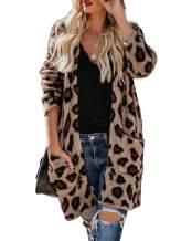 Meikulo Womens Leopard Cardigan Open Front Knit Fuzzy Long Sweater Casual Pocket Tops Sweaters Coat