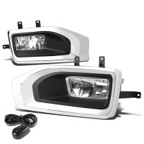 Replacement for GMC Yukon/XL Pair of Bumper Driving Fog Lights + Wiring Kit + Bezel + Switch (Chrome Cover Clear Lens)