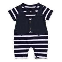 KONIGHT Newborn Baby Boys Gentleman Outfits,Short Sleeve Striped Romper Summer Bodysuit Onesie Jumpsuit