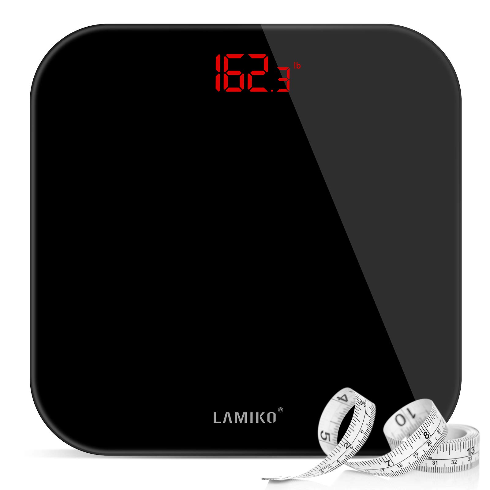 LAMIKO Digital Body Weight Scale with Step-on Technology & LED Display Ultra Slim Round Corner Design for Bathroom Gym Yoga Studio, 396 lbs, Battery Operation, All Black
