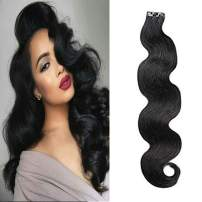 LaaVoo 16 inch Natural Black Hair Extensions Seamless Tape in Skin Weft Body Wavy 100% Real Remy Tape Human Hair Wave For Short Hair 20Pcs/50g