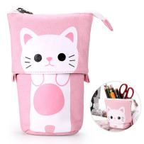 BTSKY Cute Carton Pen Pencil Case- Canvas Pencil Holder Pen Organizer Zipper Stationery Pouch Bag for Students Boys and Girls (Pink)