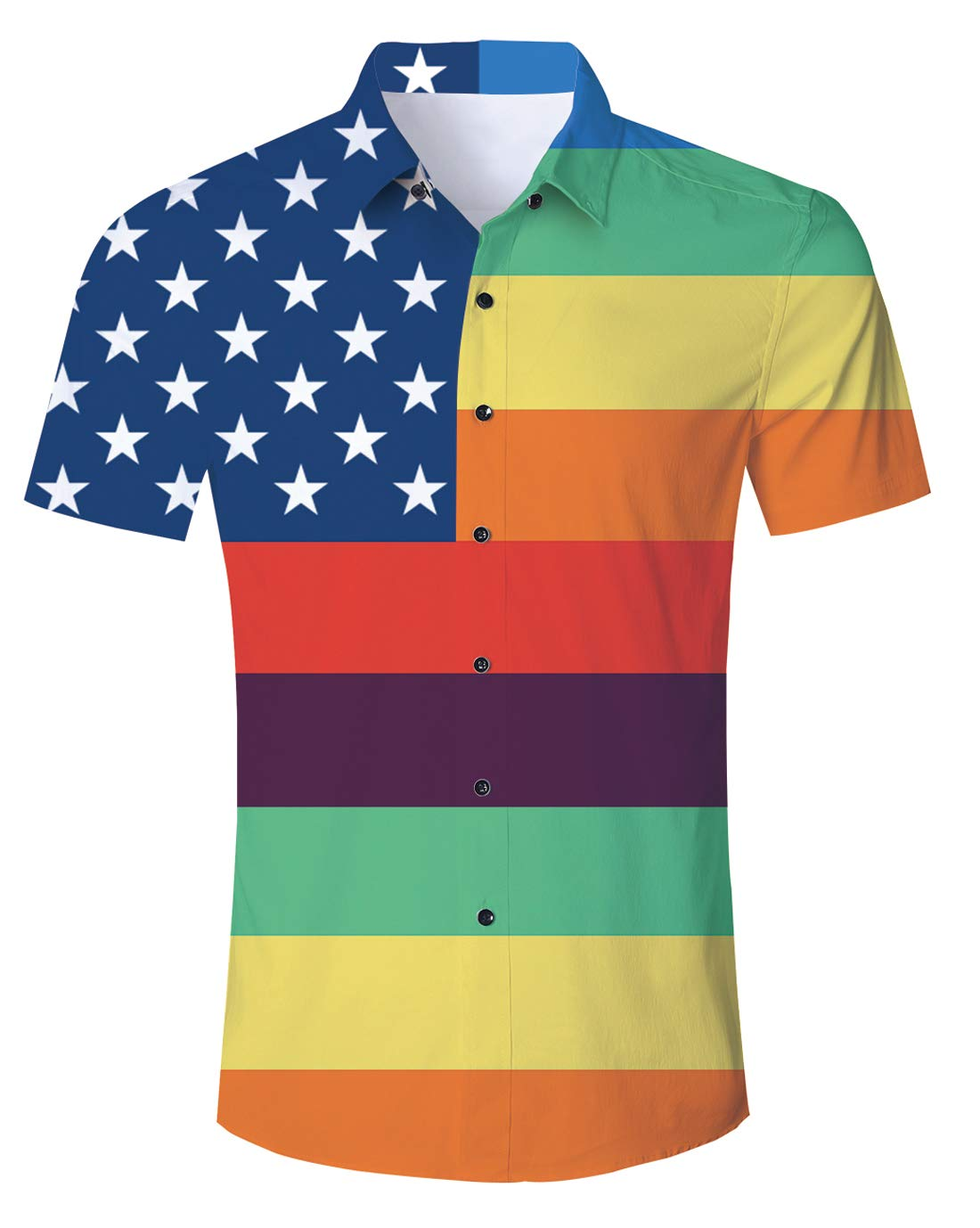 American Rainbow Colors Flag Short Sleeve Shirt for Men Summer Casual Beach Shirts