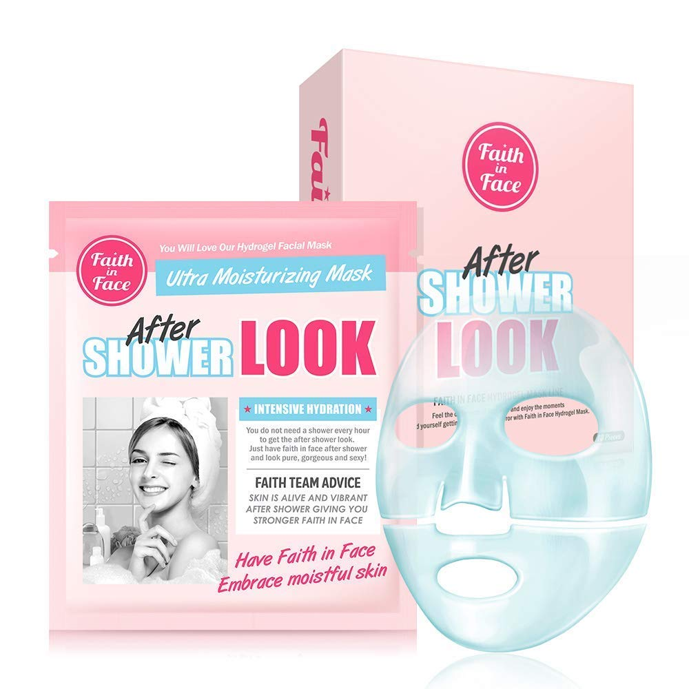Faith in Face 10 Pcs After Shower Look Hydrogel Facial Sheet Mask Pack, Face Skin Instant Hydrating Hydration Moisturizing Brightening Soothing Glowing Hyaluronic Acid K Beauty Skincare Beauty