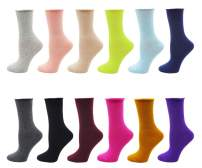 Lovful 12 Pack Women's Solid Color Roll Top Cotton Crew Socks,12 Pack,One Size