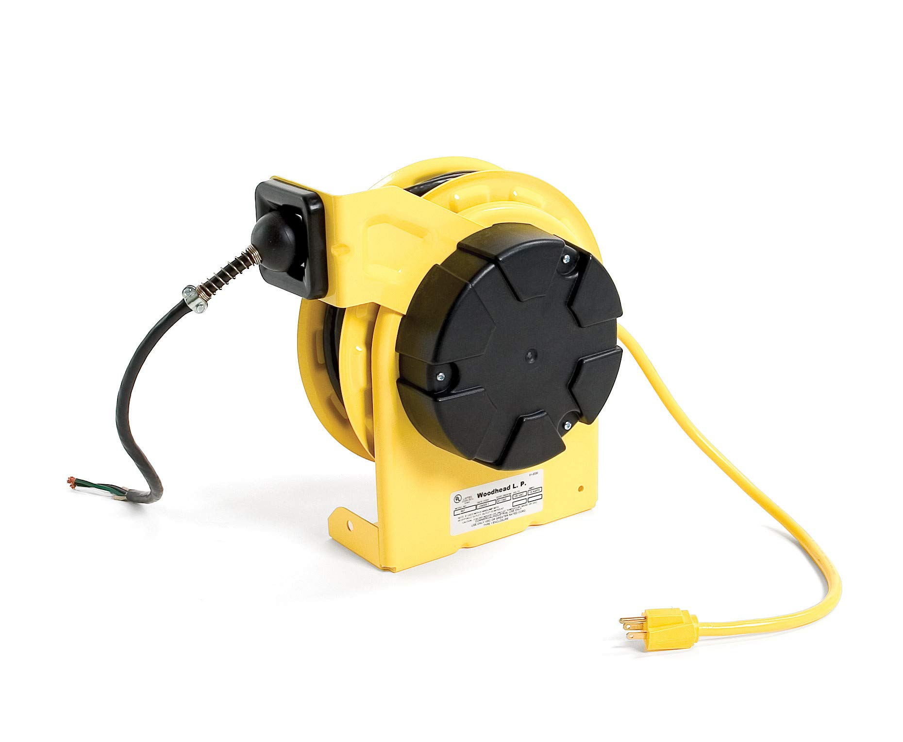 Woodhead 997-3070G Cable Reel with GFCI Pendant Outlet Box - NEMA 1 Cord Drum Reel with 12/3 SJTOW, 35ft. Cord, 2 Outlets