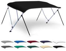 XGEAR 3-4 Bow Bimini Top Boat Cover with 4 Straps, Mounting Hardwares and Storage Boot, Full Size in Color Grey, Pacific, Navy, Black, Beige, Green, White