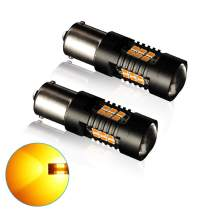 1156 LED Bulbs Amber Yellow, Super Bright 3030 Chips with Projector BA15S 7506 1141 1003 1073,12V-24V Replacement for RV Tail Lights Turn Signal Blinker Lights Reverse Lights- pack of 2