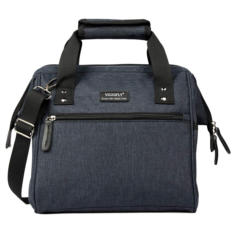 Lunch Bag Insulated Lunch Box for Women Large Lunch Bags for Women Big Adult Lunch Tote Bag for Men Work Lunchbox with Zip Removable Shoulder Strap Navy