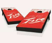 Tailgating Pros World On Fire Cornhole Boards with Set of 8 Cornhole Bags