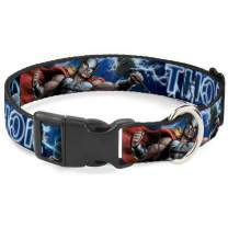 Buckle-Down Dog Collar Plastic Clip Avengers Thor Hammer Action Pose Galaxy Blues White Available in Adjustable Sizes for Small Medium Large Dogs