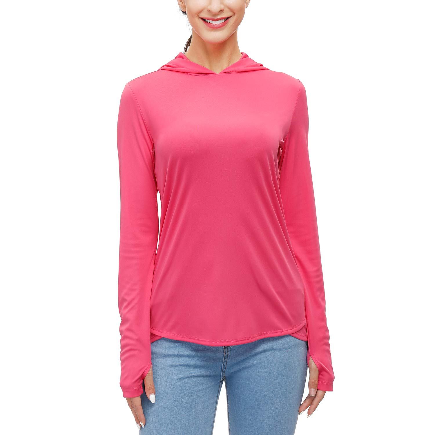 Women's UPF 50+ Sun Protection Hoodies Long Sleeve Outdoor Hiking T-Shirts with Thumb Holes