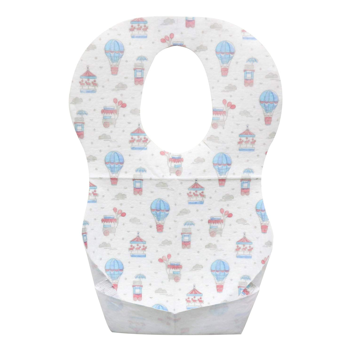 Emmzoe Baby and Infant Disposable Travel Bibs - Soft, Leakproof, Unisex, One Size Fits All - for Feeding, Traveling, On The Go - Amusement Park (50 Pack)