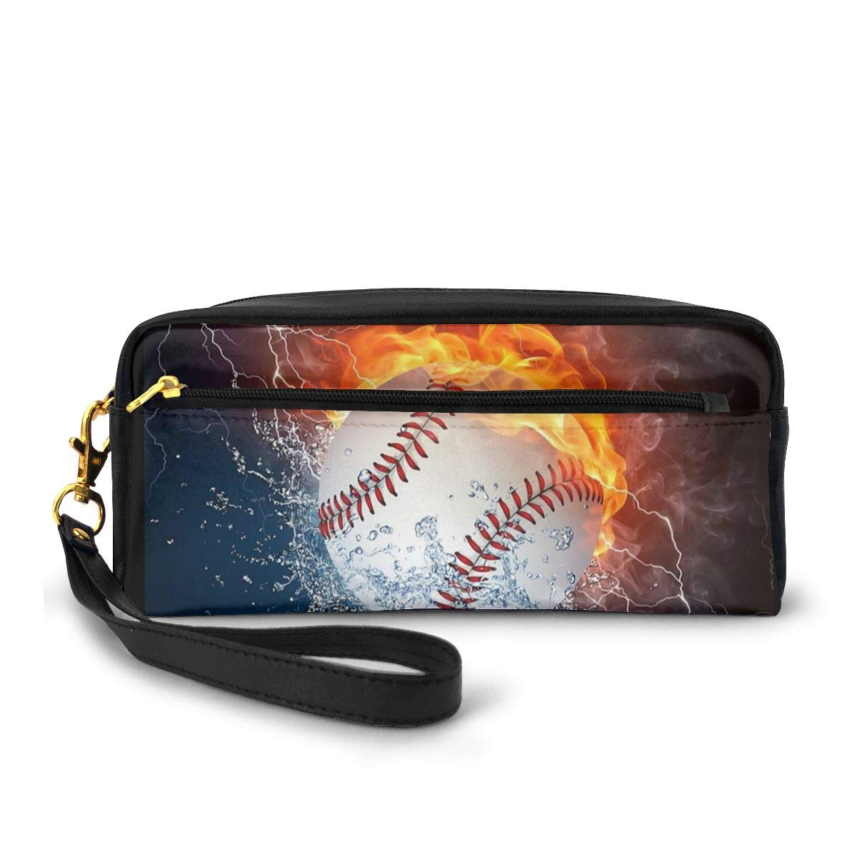 AHOOCUSTOM Baseball Fire Leather Makeup Bag for Women, Toiletry Pouch Girls Cosmetic Organizer Pencil Case for Boys