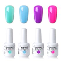 Elite99 Soak Off Gel Polish Lacquer UV LED Nail Art Manicure Kit 4 Colors Set LM-C153 + Free Gift (20pcs Gel Remover Wraps)