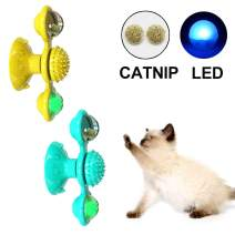 Amakunft 2 Packs Windmill Cat Toy Turntable Teasing Pet Toy, Cat Spinner Toy with Catnip and Glow Ball, Rotate Spinning Cat Toy with Suction Cup, Multifunctional Tickle Cat Toy Scratch Hair Brush