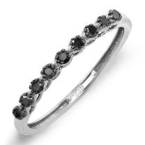Dazzlingrock Collection 0.20 Carat (ctw) Round Black Real Diamond Wedding Anniversary Band 1/5 CT, Sterling Silver