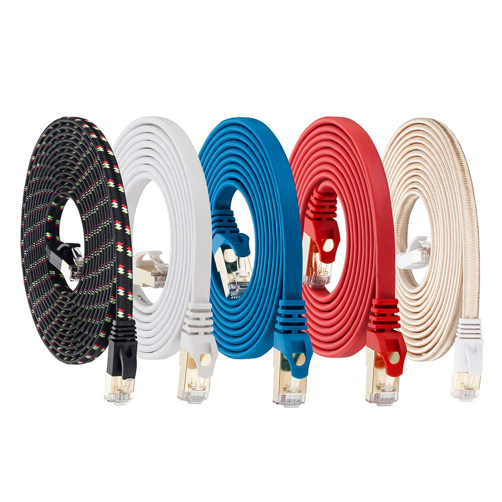 Cat 7 Ethernet Cable 6ft 5Pack Shielded (Highest Speed Cable) Flat Ethernet Patch Cables Internet Cable Ethernet Cable LAN Cable Compatible with Cat 5e, Cat 6 Network for Switch, Router, Modem, PC