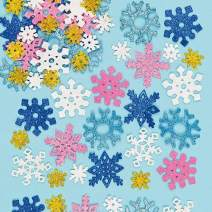 Baker Ross Snowflake Glitter Foam Stickers for Kids' Winter Crafts and Art Projects, Cards, Party Bags, and Decorations (Pack of 120)