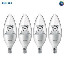 Philips LED Dimmable B12 Soft White Light Bulb with Warm Glow Effect 330-Lumen, 2700-2200-Kelvin, 4.5-Watt (40-Watt Equivalent), E12 Base, Clear, 4-Pack