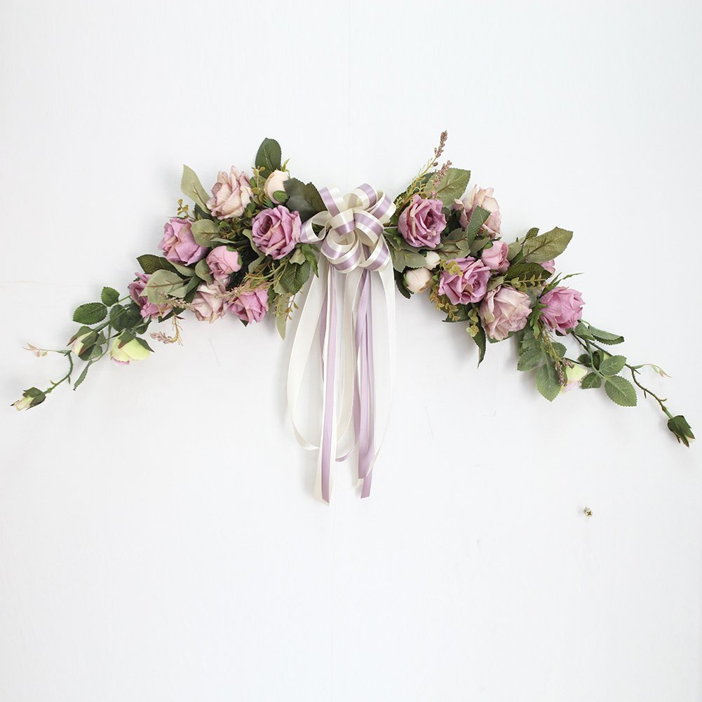 Adeeing Artificial Flower Swag 22-Inch Rose Peony Swag Arch Wreath Centerpiece for Wedding Home Room Garden Lintel Decoration, Purple Peonies