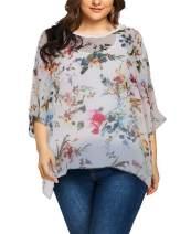 Fenxxxl Womens Casual Loose Floral Top Batwing Sleeve Chiffon Blouse Shirt Summer Tops