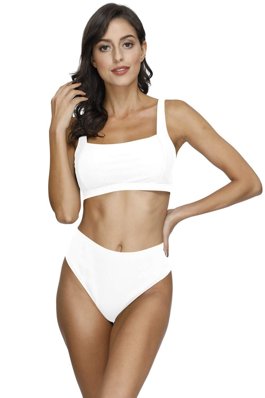 VamJump Women's Square Neck Ribbed Crop Top High Waisted Bikini Set Swimsuit