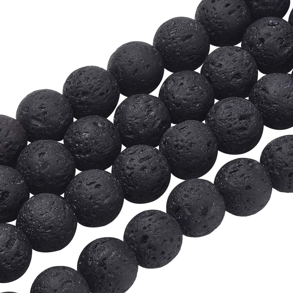 PH PandaHall 610pcs 6mm Natural Lava Beads Black Chakra Bead Strand Round Gemstone Loose Beads Energy Healing Beads for Jewelry Making