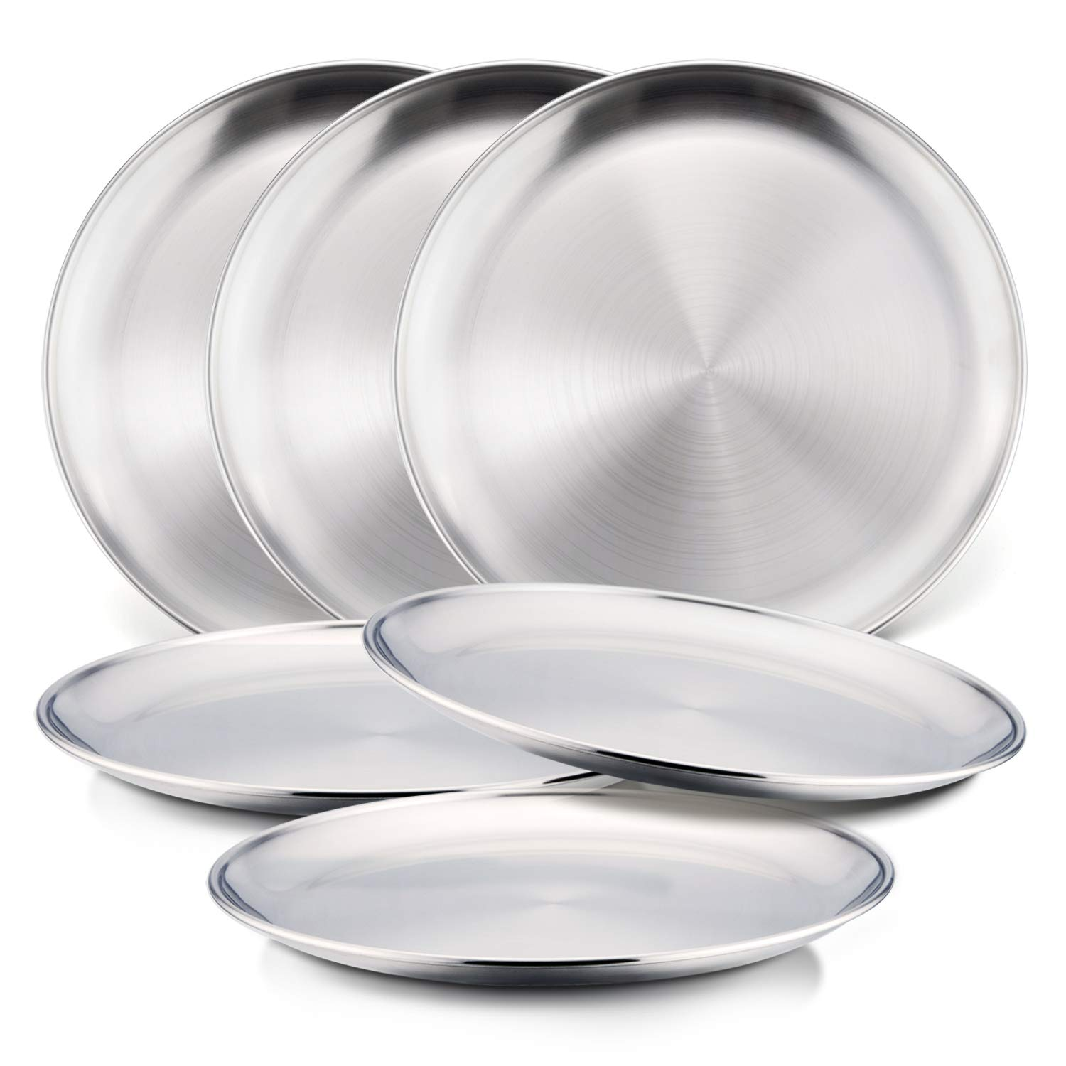 6-Piece 18/8 Stainless Steel Plates, HaWare Metal 304 Dinner Dishes for Kids Toddlers Children, 8 Inch Feeding Serving Camping Plates, Eco Friendly, BPA-Free and Dishwasher Safe