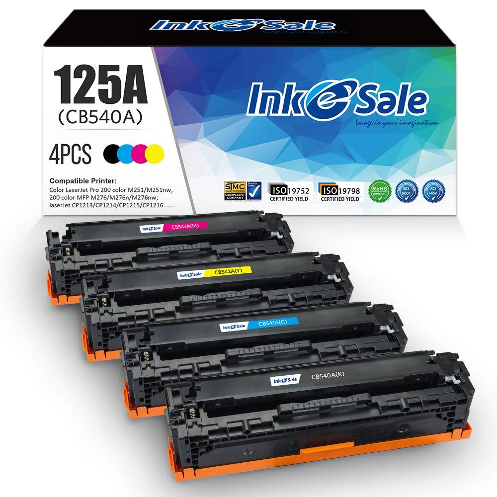 INK E-SALE Remanufactured Toner Cartridge Replacement for HP 125A CB540A CB541A CB542A CB543A for use with HP Color Laserjet CP1215 CP1518ni CP1515n CM1312nfi CM1312 MFP Printer, 4 Pack