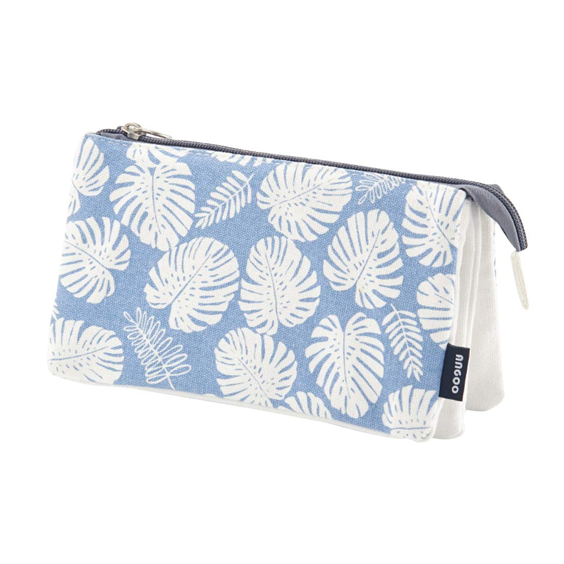 iSuperb 3 Layers Pencil Case Dual Zipper Stationery Pouch Organizer Canvas & Nylon Cosmetic Makeup Handbag for Girls Women (Blue Leaves)
