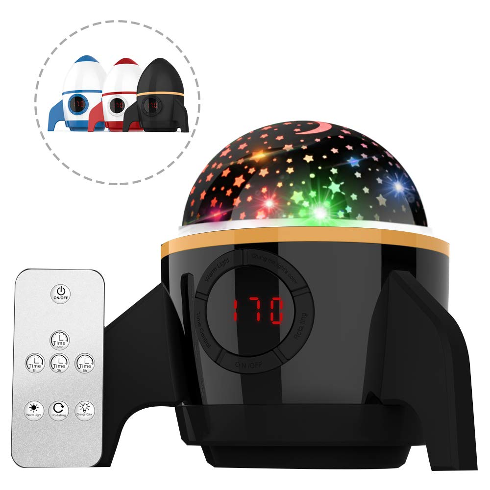 Starry Night Light Projector Bedroom Sky Projector Night Light Kids Night Light Lamps Star Projector Ceiling Baby Night Light Night Sky Projector With Timer Gifts For Women Kids Black