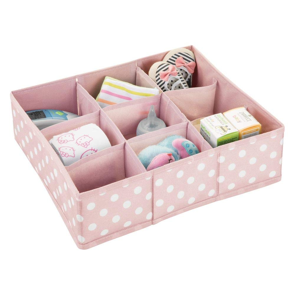mDesign Soft Fabric 9 Section Dresser Drawer and Closet Storage Organizer Bin for Baby Room, Nursery, Playroom - Divided Large Organizers - Polka Dot Print - Light Pink with White Dots