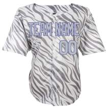 Pullonsy Gray Zebra Pattern Custom Baseball Jersey for Men Women Youth Sewn Any Name & Numbers S-8XL,Design Your Own Online