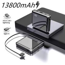 13800mah Power Bank Own Iphone/Micro/Type-C Charge Cable.One of The Smallest and Lightest Power Bank,Ultra-Compact Battery Pack,High-Speed Charging Technology Phone Charger for iPhone Samsung and More