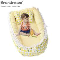 Brandream Baby Nest Bed Yellow, Fruit Newborn Baby Lounger with Lemon, Infant Sleeping Nest Breathable 100% Cotton Cute Baby Bassinet for Bed Lace Design, Portable Crib for Bedroom/Travel