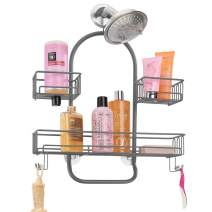 mDesign Extra Wide Metal Wire Tub & Shower Caddy, Hanging Storage Organizer Center with Built-in Hooks and Baskets on 2 Levels for Shampoo, Body Wash, Loofahs - Rust Resistant - Graphite Gray