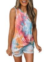 Biucly Women's Round Neck Sleeveless Tie-dye Gradient Tank Top Casual Loose Shirts(S-2XL)