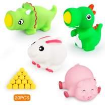 KUARLUBI Shoot Ball Toys -Dinosaur Pig Toys Foam Ball Popper Guns , Toy Guns for Kids 4pk with 20 Foam Ball for Boys Girls Birthday Gifts
