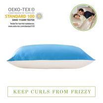 LILYSILK Silk Pillowcase with Cotton Underside 19 Momme Mulberry Silk 100% Cotton Fabric Zipper Closure (King, Lake Blue)
