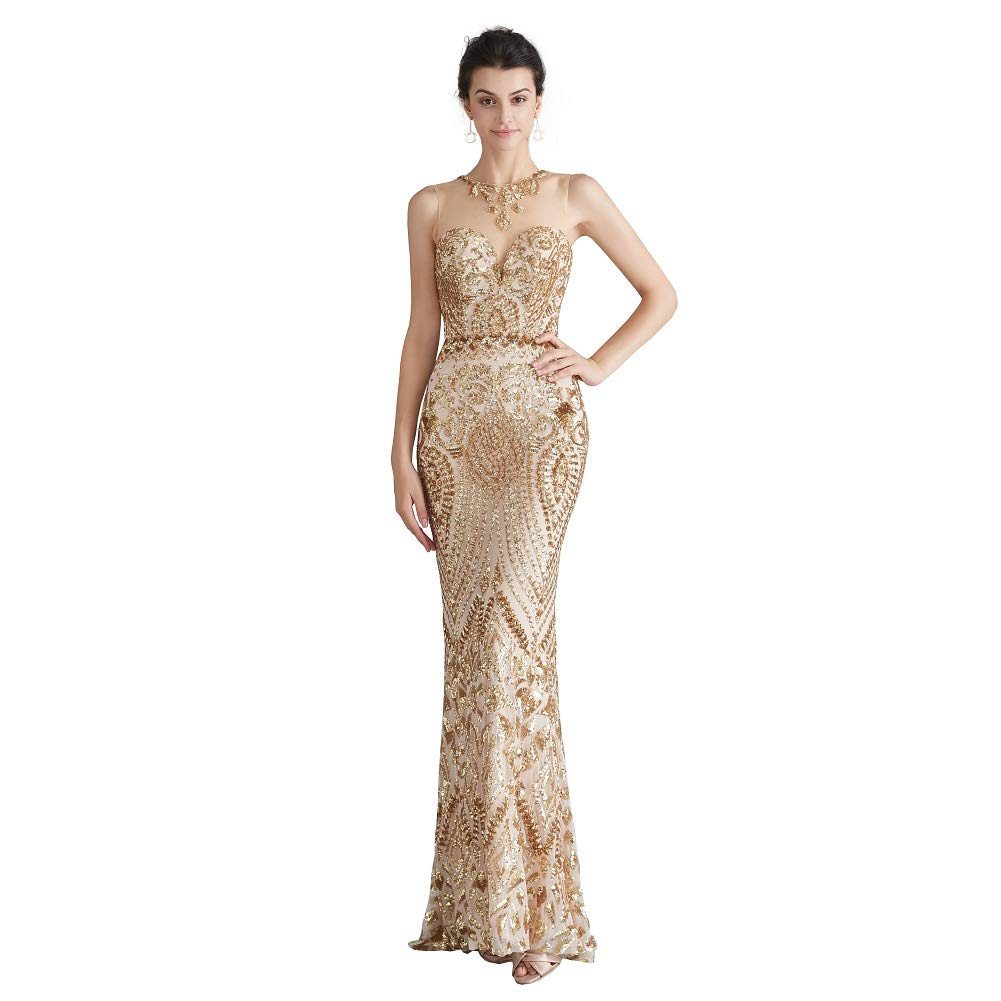 Engela Sequin Mermaid Dresses Gold/Royal Blue Trumpet Evening Dresses Party Prom Gowns