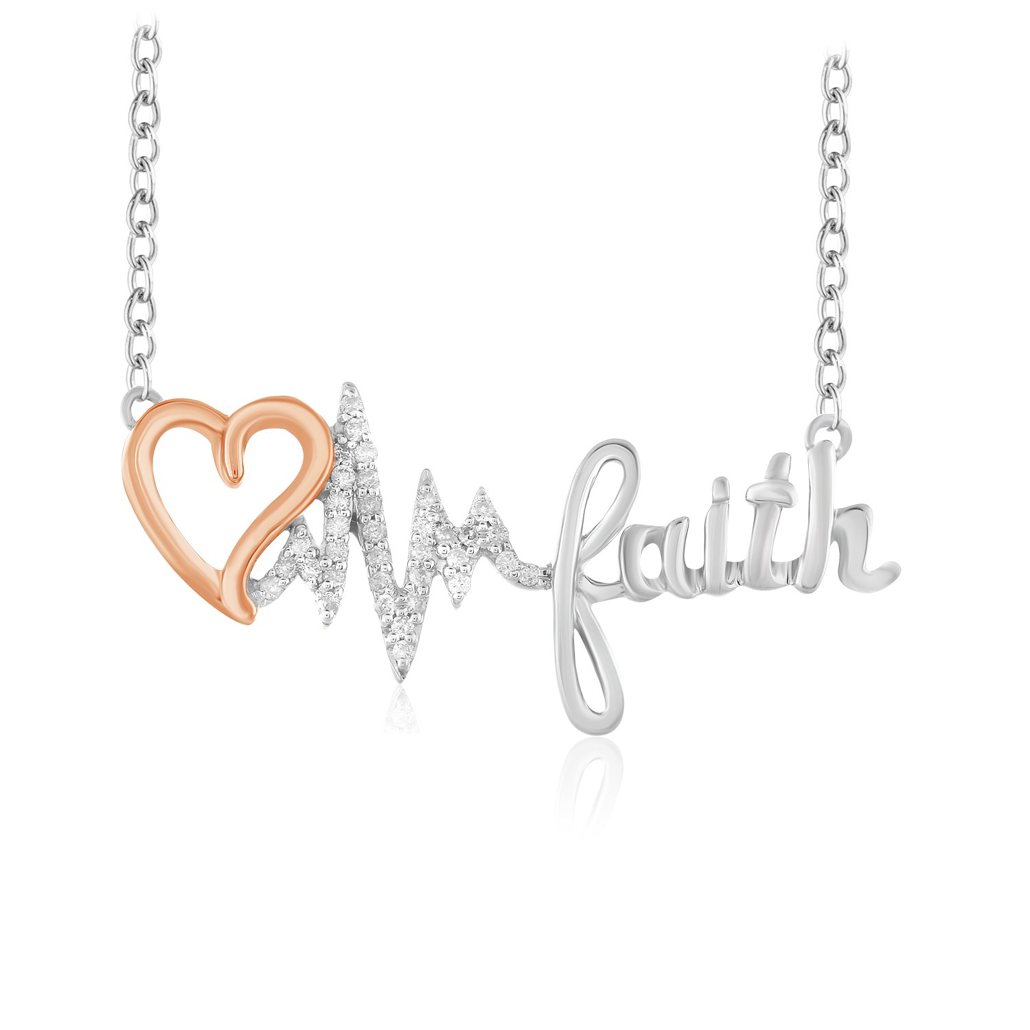 CARATS FOR YOU .925 Sterling Silver Round Cut Real Natural Diamond Heart Heartbeat Faith Pendant Chain Necklace For Women 18 inch