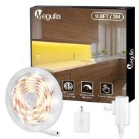 Under Cabinet LED Lighting, Megulla 3m/9.8ft Warm White 3000K LED Strip Lights with Dimmer Switch and ETL-Listed Power Plug for TV, Bedroom, Headboard, Kitchen, Cupboard, Under Counter, Sewing Machine