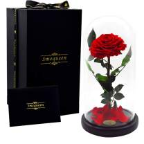 Smequeen Handmade Preserved Rose Never Withered Roses Flower in Glass Dome, Gift for Valentine's Day Anniversary Birthday (Red)
