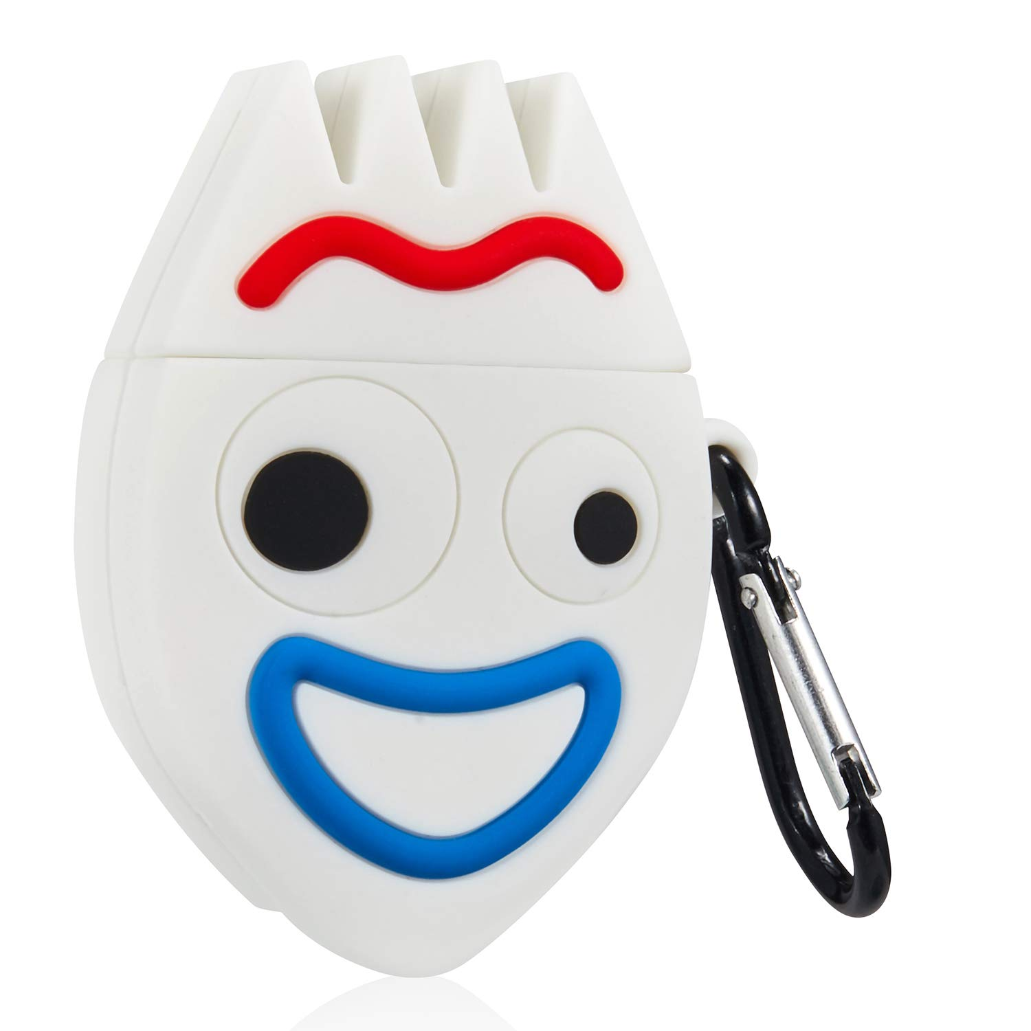 Gift-Hero Happy Fork Cartoon Case for Airpods, Cute Funny Cool Pattern Design for Girls Boys Kids, Accessories Carabiner Protective Fun Fashion Character Skin Soft Silicone Cover for Air pods 2/1