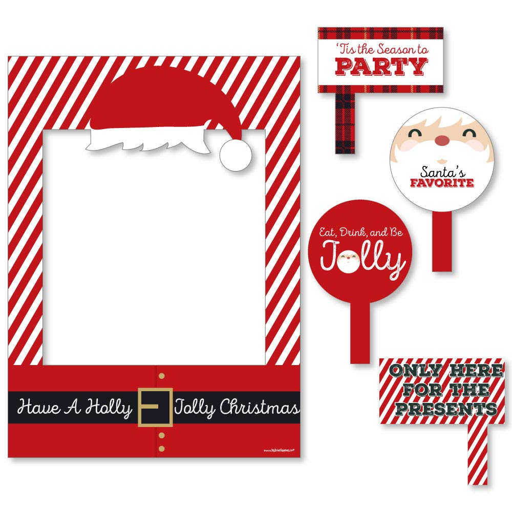 Big Dot of Happiness Jolly Santa Claus - Christmas Party Selfie Photo Booth Picture Frame and Props - Printed on Sturdy Material