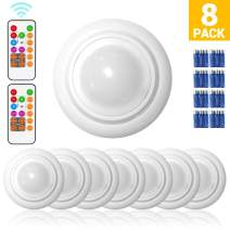 Wireless LED Closet Lights, RGB Color Changing Puck Light, Battery Operated Under Cabinet Light with Remote Control, Touch Sensor LED Night Light, 8PK